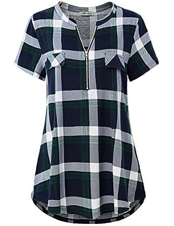 Finice Women's Zip V Neck Short Sleeve Casual Plaid Shirt Green S