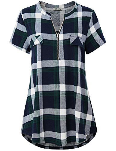 (Finice Short Sleeve Shirts for Women, Ladies Tunic Tops Band Collar V Neck Half Zip Pullover Blouse Short Sleeve Easy Loose Fit Casual Plaid Print Tee Shirt Daily Wear Green M)