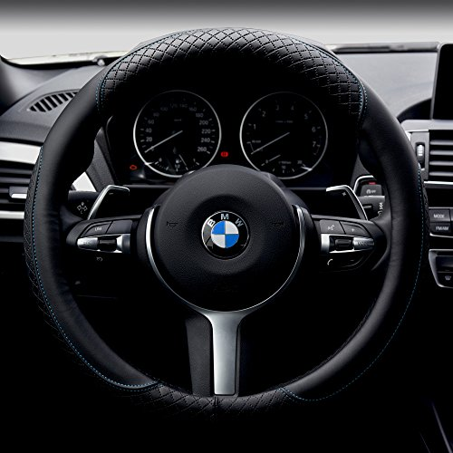 Car Steering Wheel Cover Automotive Interior Accessories-Microfiber Leather Anti Slip Wrap Universal Soft Odorless 15 inch (Black&Blue) (Unit Investment Trust compare prices)