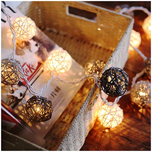 Battery Handmade Rattan Ball [Diameter:2.04 in] String Lights with Timer,8 Mode,20 Warm White LED Christmas Indoor String Fairy Lights for Xmas,Study,Dressing Room,Showcase,Bar,Girl,Birthday Gift-Gray ()