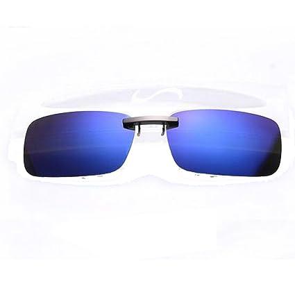 Shsyue® Clip On Polarized Gafas de Sol Gafas Con Clip Apoyan Sobre el Puente Lente de Visión Nocturna de Vidrio de Conducción (Azul)