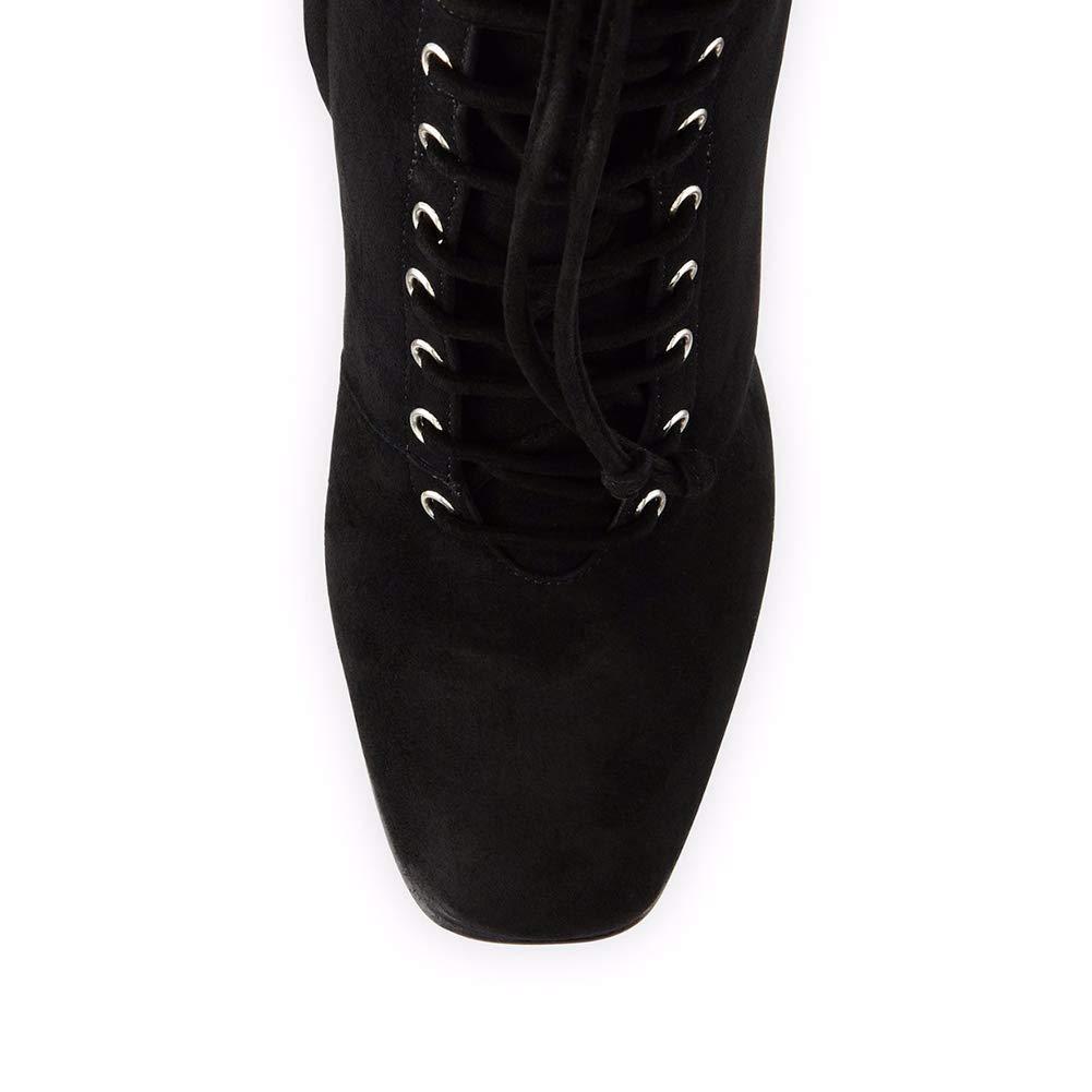 LYY.YY Frauen Quadratischer Kopf Schnürung Dicker High Heel Heel Heel Stiefeletten Knöchel Schnalle Seitlicher Reißverschluss Hochhackig Stiefelies Büro Schuhstiefel (Absatzhöhe  12Cm) 95d1e4