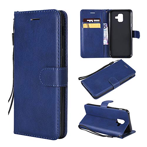 Samsung Galaxy A6 Wallet Case, Galaxy A6 2018 Case Deep Blue, Leather Case Flip Folio Book Case Wallet Cover with Kickstand Feature Card Slots and Magnetic For Samsung Galaxy A6 2018