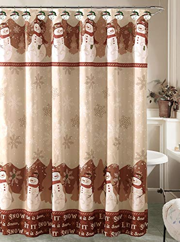 Holiday Snowman Shower Curtain with 12 Resin Shower Hook Rings Bathroom Set]()