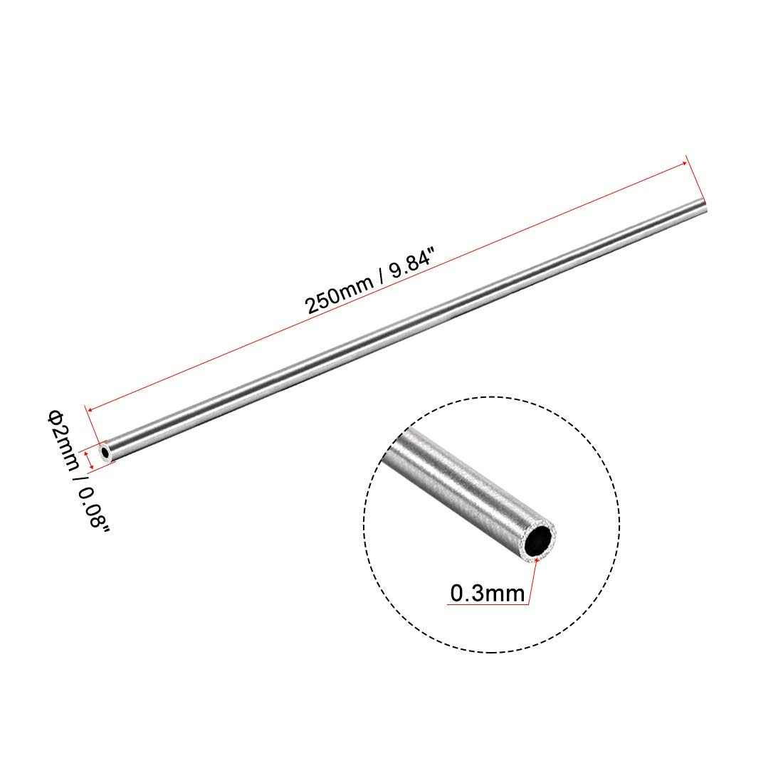 Round Stainless Steel Tube 304 2 mm OD 0.3 mm Wall Thickness 250 mm Length Straight Seamless Tube Tube 8 Pieces