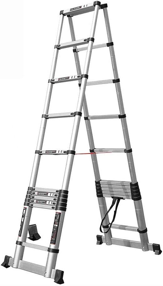 Escalera telescópica HWF Aluminio con Marco Escalera Plegable, Escalera Multiusos Extensible 3.8 M, Carga Máxima 150 Kg: Amazon.es: Hogar