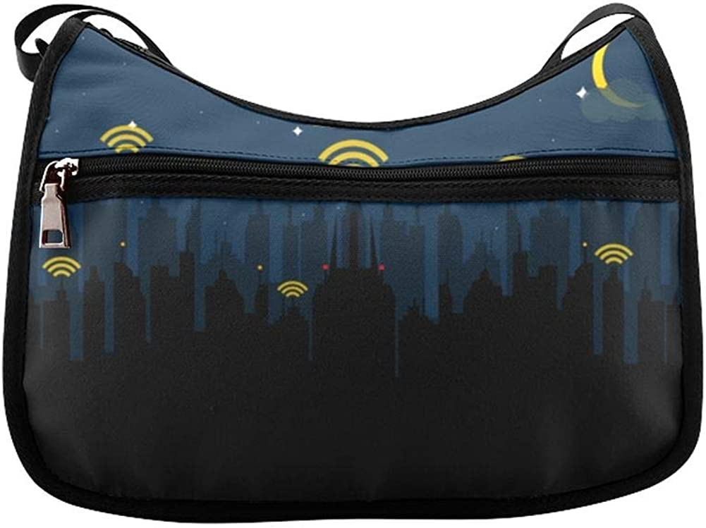 Wifi Abstract Creative Sign Messenger Bag Crossbody Bag Large Durable Shoulder School Or Business Bag Oxford Fabric For Mens Womens