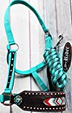 Horse Noseband Tack Bronc Leather HALTER Tiedown Lead Rope Rodeo Equine 280M7978
