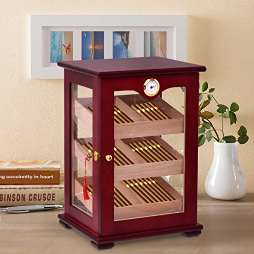 Giantex Countertop Cigar Humidor Cabinet Tempered Glass Lockable w/Humidifiers Hygrometer 150 Cigars by Giantex (Image #1)