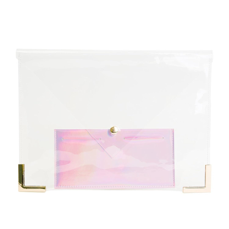 Flada Women's Hologram Clear Clutch Transparent Handbag Purse IT Bag