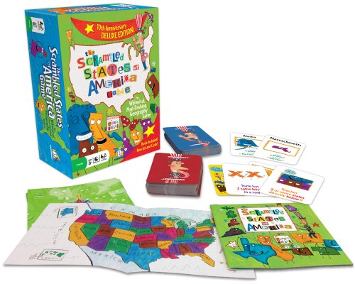 60 Scramble Cards, 50 State Cards, 4 United States Maps, Full-Color Paperback Book
