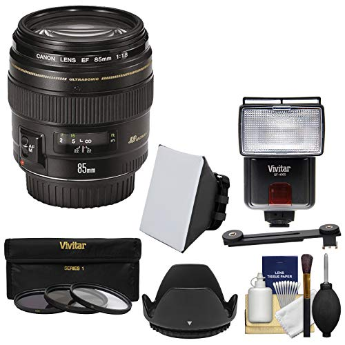 Canon EF 85mm f/1.8 USM Lens with 3 Filters + Hood + Flash & 2 Diffusers + Kit (Canon Zoom Lens Ef 28 80mm Ultrasonic)
