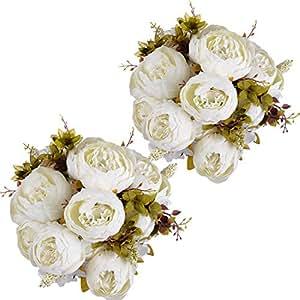 Amazon artificial peony wedding flower bush bouquet greendec artificial peony wedding flower bush bouquet greendec vintage peony silk flowers for home kitchen wreath mightylinksfo