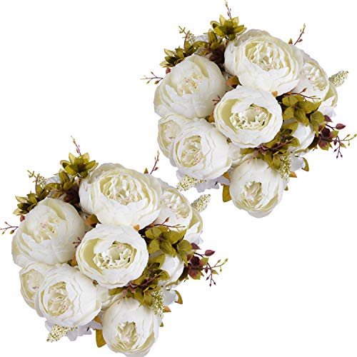 (Artiflr 2Pack Artificial Peony Wedding Flower Bush Bouquet Vintage White Peony Silk Flowers for Home Kitchen Wreath Wedding Centerpiece Decor)