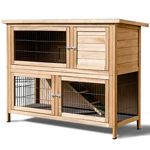 "TANGKULA 52"" Rabbit Hutch Outdoor Garden Backyard Wood Hen House Chicken Coop Rabbit Hutch Poultry Small Animal Cage"