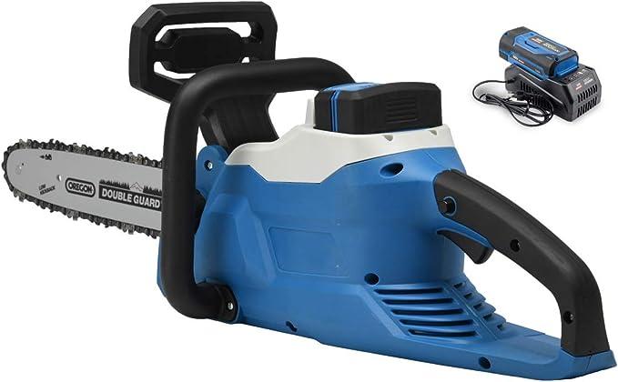 Hyundai HY-CS3501-58VSET, Motosierra eléctrica (batería y Cargador incluidos), Negro/Azul: Amazon.es: Jardín