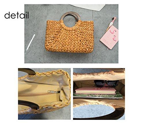 4 Handmade Handbag Womens Girl Beach Crossbody red Shoulder Bag Straw Yellow Fashion Gift Bags HopeEye YHwOtY