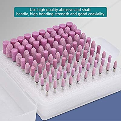100pcs Polishing Head for Drill Kit, Polishing Stone Head Grinding Wheel Burr Bit for Grinder with Box Shank Diameter 3mm (Pink): Home Improvement