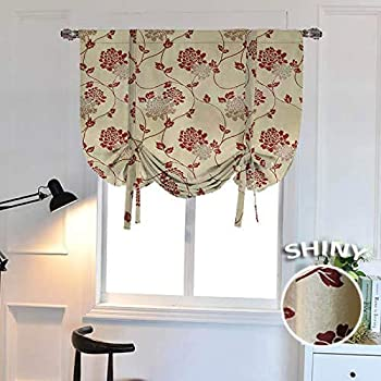 WUBODTI Blackout Floral Valance Tie Up Window Curtains Room Darkening Valances Thermal Insulated Embroidered Balloon Drapes and Curtains for Kitchen Bedroom Bathroom Windows,32x55 Inch,Beige,Red