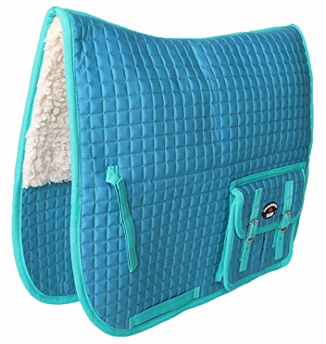 CHALLENGER Horse Quilted English Saddle PAD Pockets Half Fleece Padded Dressage 7271
