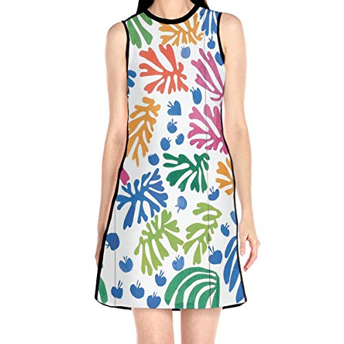 Laur Women¡¯s Sleeveless Scuba Sheath Dress Foliage Colorful Print Casual/Party/Wedding Dress M White
