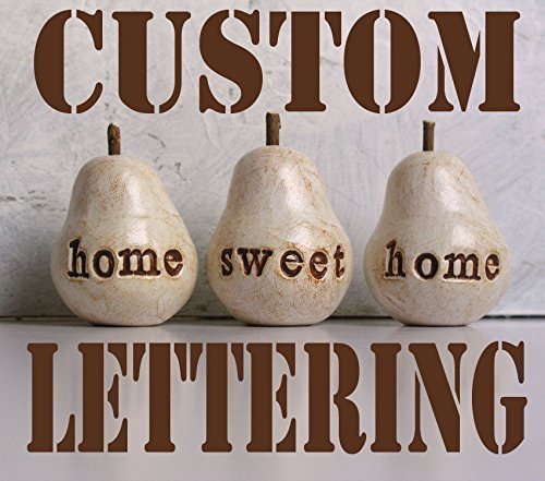 Set of 3 custom text rustic white word pears, personalized text or phrase (Country French Pear)
