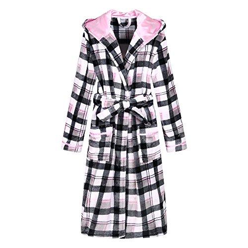 (Richie House Women's Plaid Fleece Bathrobe Robe RHW2714-B-S)