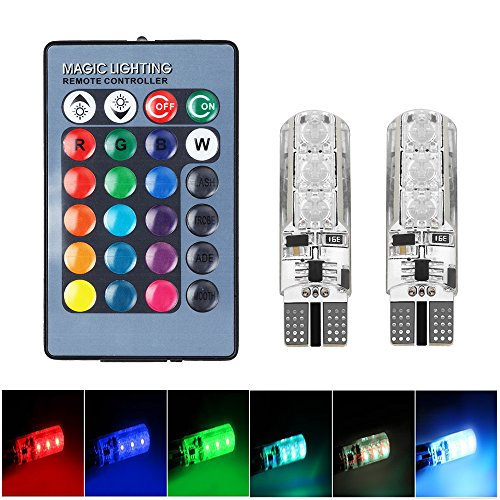 Keyecu 2 Multicolored LED Bulbs T10 5050 6SMD RGB Atmosphere Light with Remote Controller for Interior Bulbs Tail Light Side Parking Door Lighting