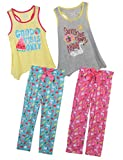 Sleep On It Girls 4 Piece Tank Top and Pant Spring Pajama (2 Full Sets) Vibes, Size 5/6'