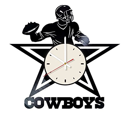 Dallas Cowboys Football Team vinyl wall clock - handmade artwork home bedroom living kids room nursery wall decor great gifts idea for birthday, wedding, anniversary - customize your (White/White) by STP Cat
