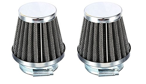 SET of 2 Chrome Pod Filters - 52mm - Honda Kawasaki Suzuki Yamaha