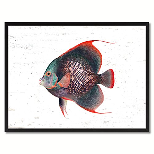 Tropical Angel Fish - Red Angel Tropical Fish Art Canvas Print with Picture Frame Home Decor Wall Decoration Collection Gift Ideas 13