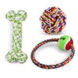 Cheap Misan Pet Puppy chewing Teeth Cleanning Toys Safe Nontoxic Cotton Durable Rope Toy for Dogs (Pack of 3 for m-l dog,Colors in Random)
