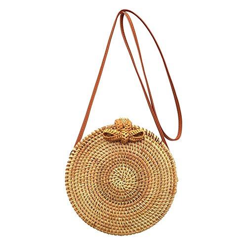 Messenger Round Rattan Shoulder 7 Straw Women Summer Handbag No Prosperveil Beach Bags Woven xtBEdqwBT