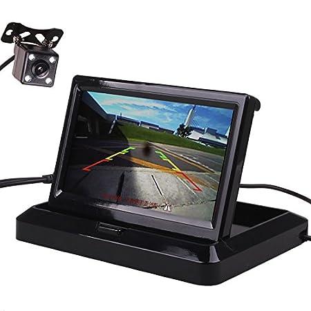 HitCar Set con mini schermo digitale HD TFT-LCD, a colori e pieghevole, per telecamera posteriore, supporto per parcheggiare e fare retromarcia AC-530ZD+LED662