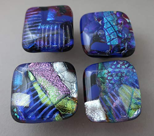 (Set of 4 blue fused dichroic glass cabinet knobs drawer pulls satin nickel)