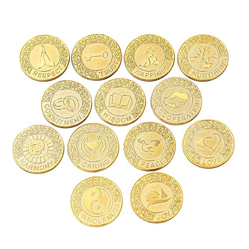 English Gold Wedding Unity Coins Set Filipino Wedding Arras Wedding Ceremony Accessories Couple Souvenirs with case (English Coins)