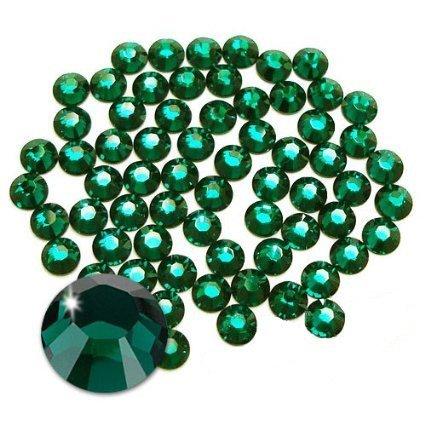 Jollin Hot Fix Flatback Rhinestones Glass Diamantes Gems(16ss 576pcs,Dark Green)