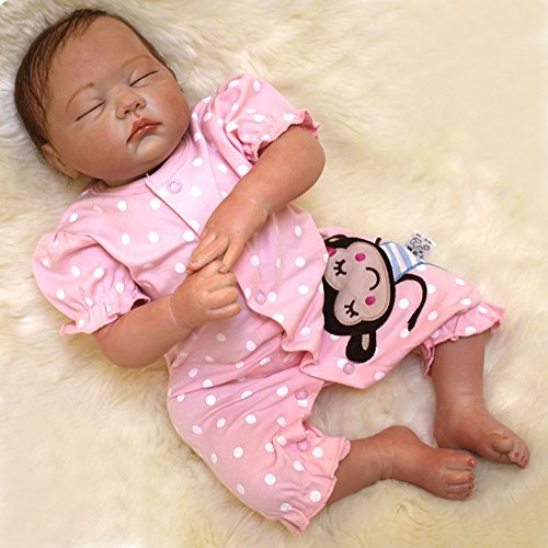 20 Inches Real Looking Reborn Baby Dolls Girl Silicone Vinyl Eye Closed Pink (Looking Under Girls Dress)
