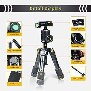AFAITH Portable Folding Ultra Aluminum alloy Tripod Compact Desktop Macro Mini Tripod Kit with CK-30 Ball Head for Canon Nikon DSLR Camera -Black TM018