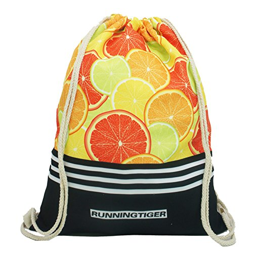 Artone Universo Lona Con Cordón Bolso Viajar Daypack Deportes Portátil Mochila Azul Naranja