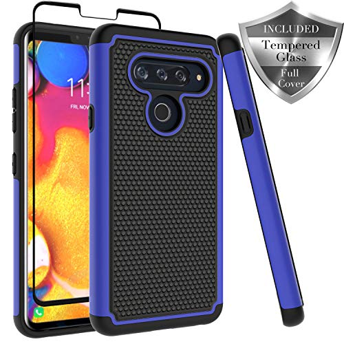 LG V40 ThinQ Case, Dual Layer [ Full Coverage Tempered Glass Screen Protector ] Anti-Scratch Rugged Heavy Duty Premium Protection Case Cover for LG V40 ThinQ - Blue