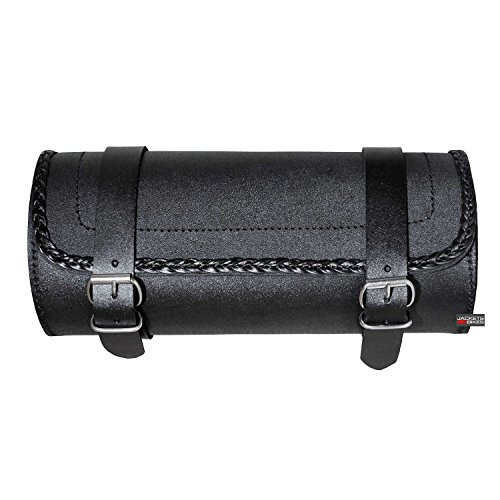 Leather Motorcycle Tool Bag Fork Handlebar Buckle BRAIDED Bags Black (Motorcycle Tool Bag Luggage)