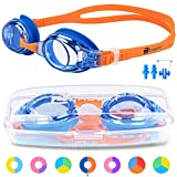 ZABERT K2 Kids Swimming Goggles For Girls Boys Junior Childs Children Toddler Age 0-6 4-6 6-14 Years Old Swim Goggles Blue Coral Orange, Anti Fog UV Protection Wide Vision Silicone