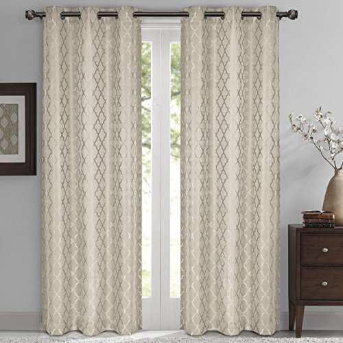 Willow Jacquard Beige Grommet Blackout Window Curtain Panels, Pair / Set of 2 Panels, 42x84 inches Each, by Royal Hotel