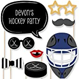 Custom Shoots & Scores - Hockey Photo Booth Props Kit - Personalized Hockey Party Supplies - 20 Selfie Props