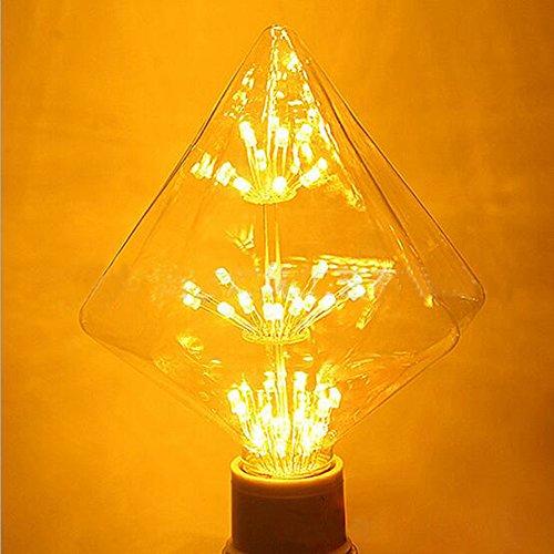 Decorative Light Bulbs XinRong G125 Diamond Shaped E27 220V 3W Vintage  Edison Bulb Starry Sky LED Light Lamp, 300LM Warm White Glow: Amazon.co.uk:  Lighting