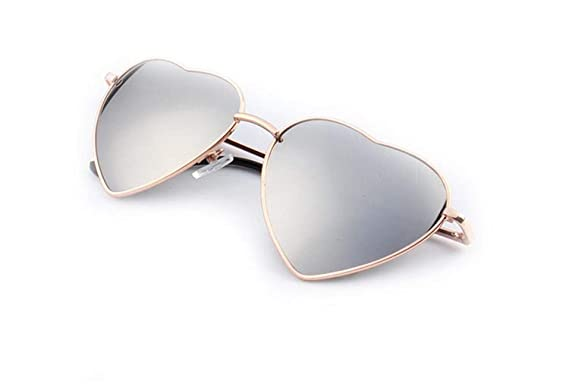 211977ddd1c83 Image Unavailable. Image not available for. Color  Christmas gifts Heart  Shaped Sunglasses Women Metal Frame Reflective Lens ...