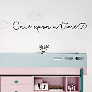 Once Upon A Time Wall Decals Kids Nursery Wall Art Decor Kids Bedroom Lettering Saying Quote Wall Decal Sticker Kids Room Decor - 27x4 inch