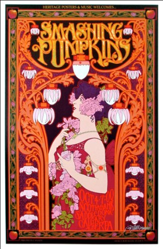 Smashing Pumpkins Poster Calgary Saddledome Beautiful Art Nouveau Signed Original by Bob Masse MINT Includes Signed COA ()